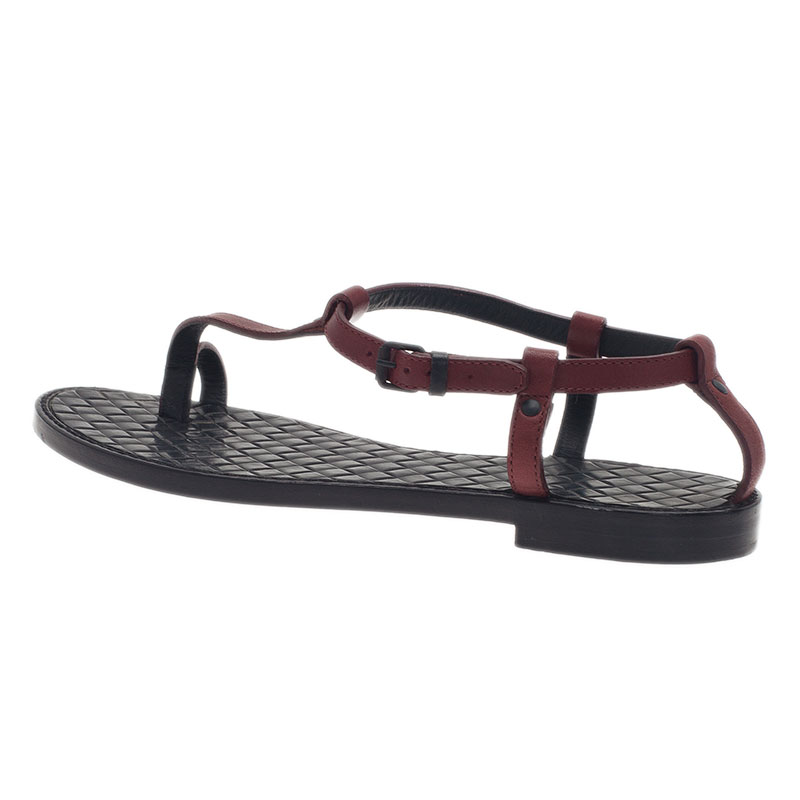 Bottega Veneta Red Leather Toe Ring Sandals Size 37