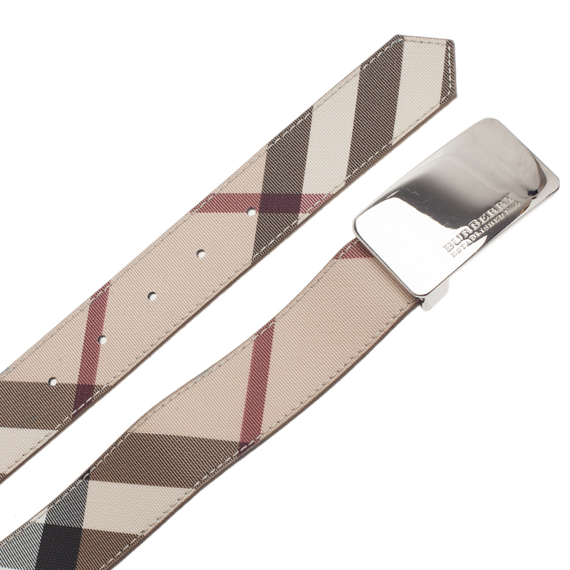 Burberry Beige Haymarket Check Plaque Belt