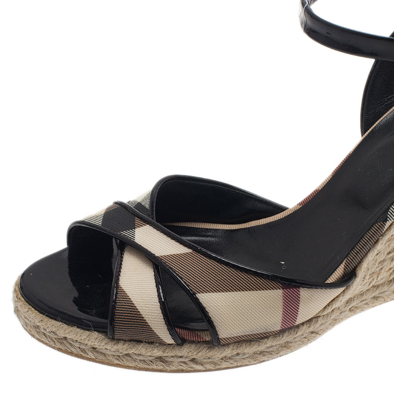 Burberry Black Patent Check Espadrille Wedges Size 39