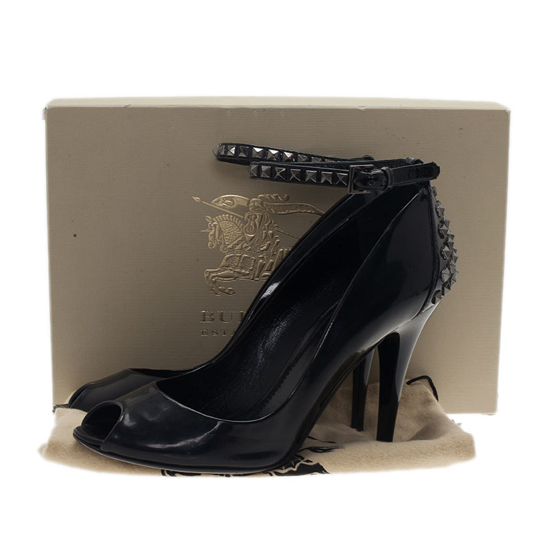 Burberry Black Patent Studded Ankle Strap Pumps Size 39