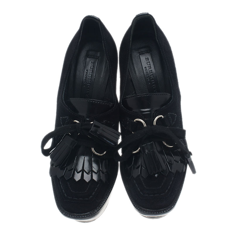 Burberry Prorsum Black Leather Oxford Creeper Platform Wedge Boots Size 37