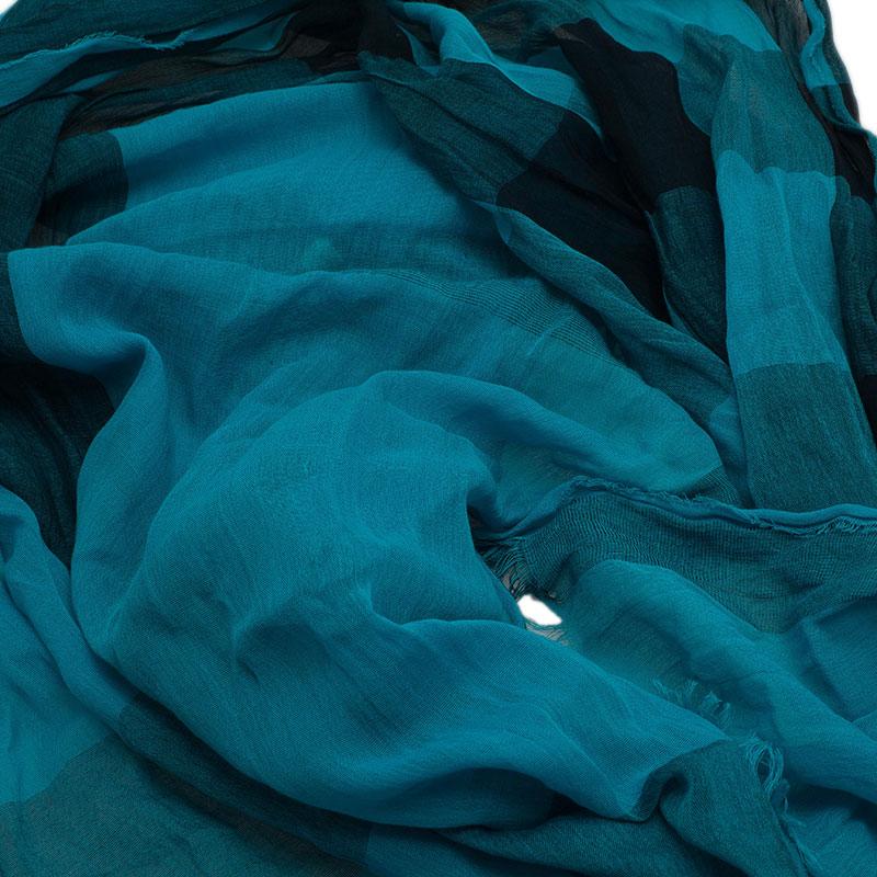 Burberry Blue Cotton Blend Novacheck Stole