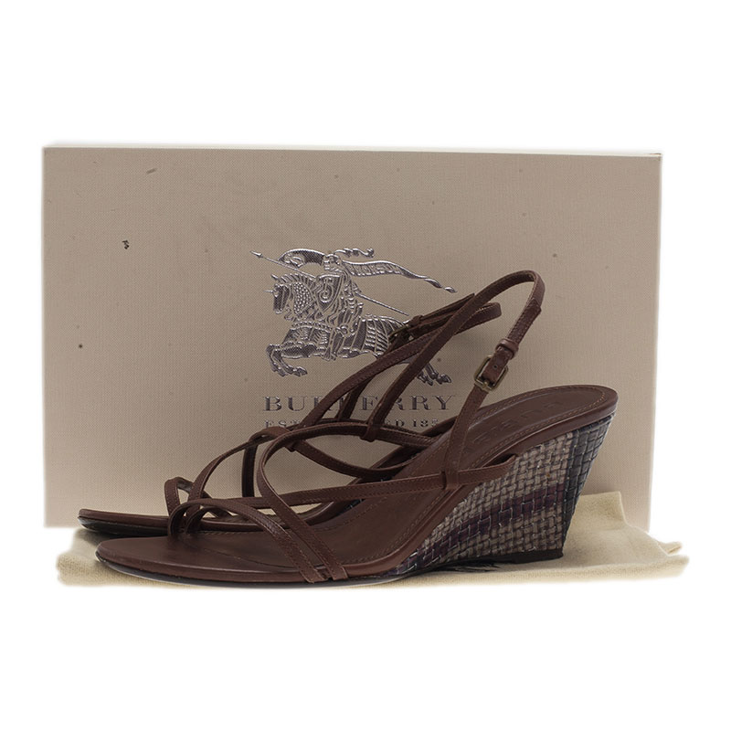 Burberry Brown Leather Strappy Wedges Size 38.5