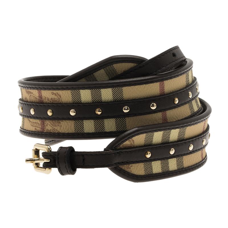 Burberry Novacheck Leather Buckle Detail Waist Belt 80CM