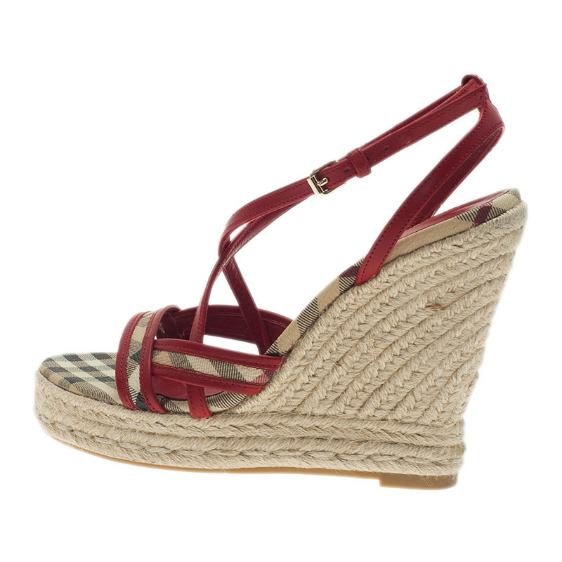 Burberry Red Leather Espadrille Wedge Sandals Size 36