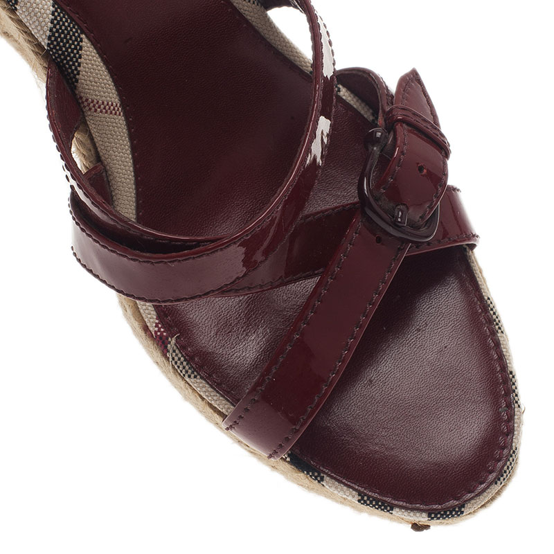 Burberry Red Patent Leather Espadrille Wedge Slides Size 38