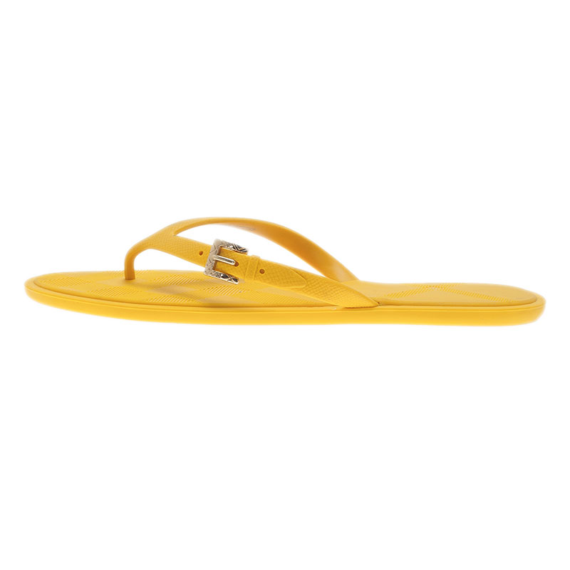Burberry Yellow Wallford Rubber Flip Flops Size 38