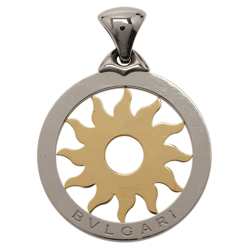 Bvlgari Tondo Sun Gold and Stainless Steel Large Pendant