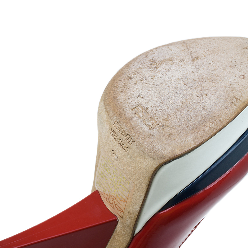 Fendi Red Patent Slingback Wedges Size 38