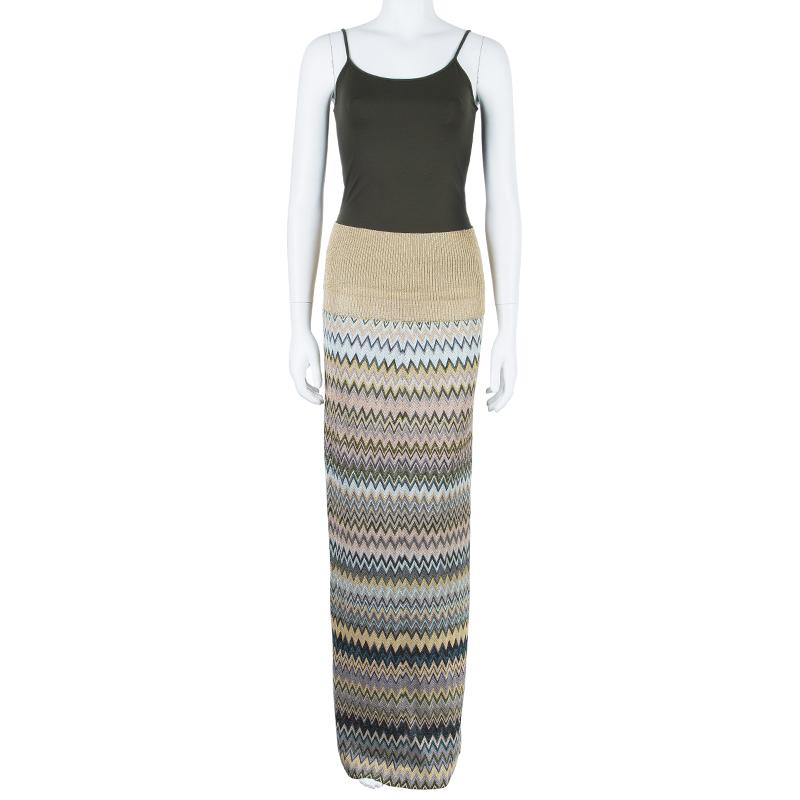 Missoni Multicolor Metallic Knit Maxi Skirt M