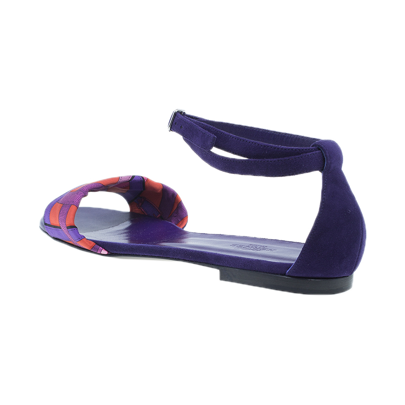 Hermes Purple Suede and Printed Silk Flat Sandals Size 39
