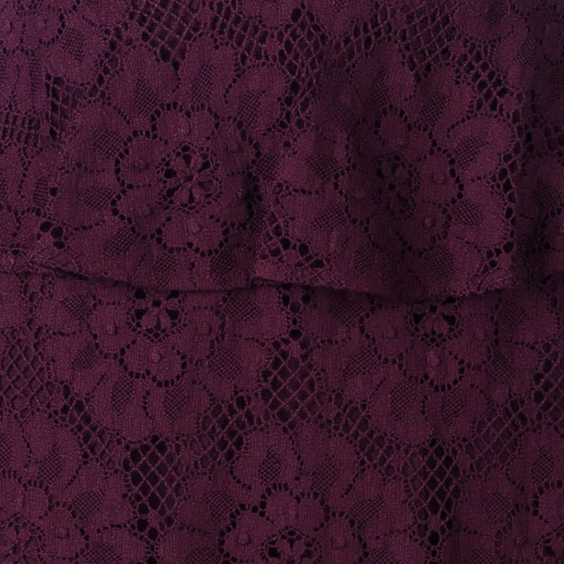 Burberry Burgundy Lace Sleeveless Dress S
