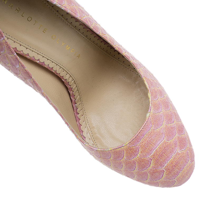 Charlotte Olympia Pink Python Priscilla Platform Pumps Size 39