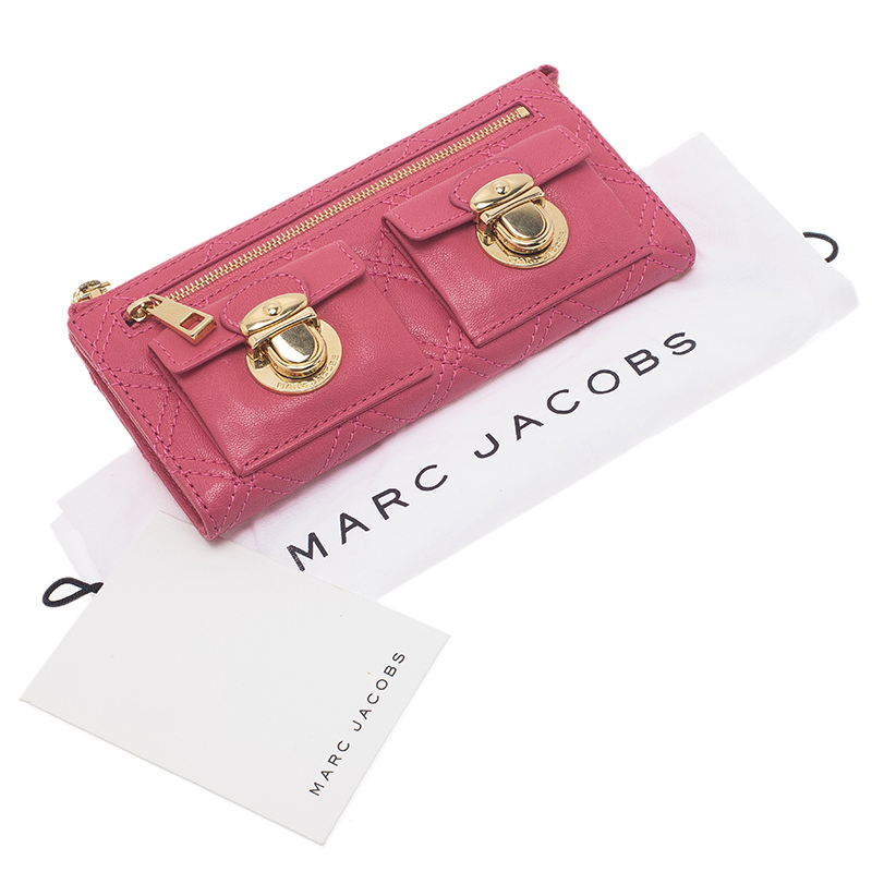 Marc Jacobs Pink Quilted Leather Double Pocket Zip Wallet