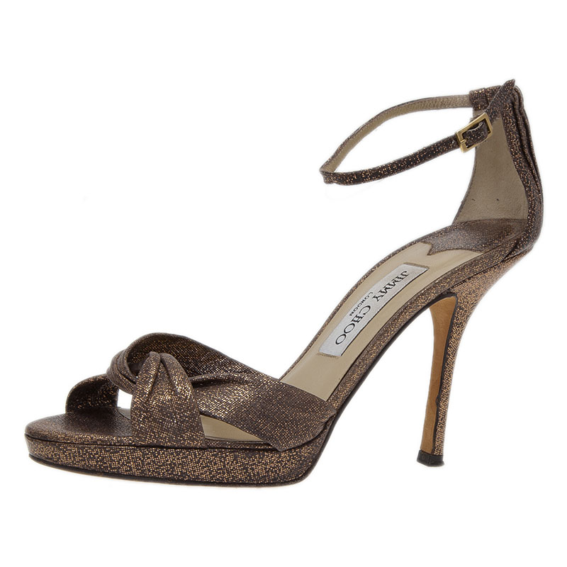 Jimmy Choo Grey Glitter Marion Ankle Strap Sandals Size 37.5