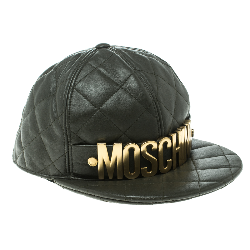 Купить со скидкой Moschino Fatigue Green Quilted Leather Lettering Cap M
