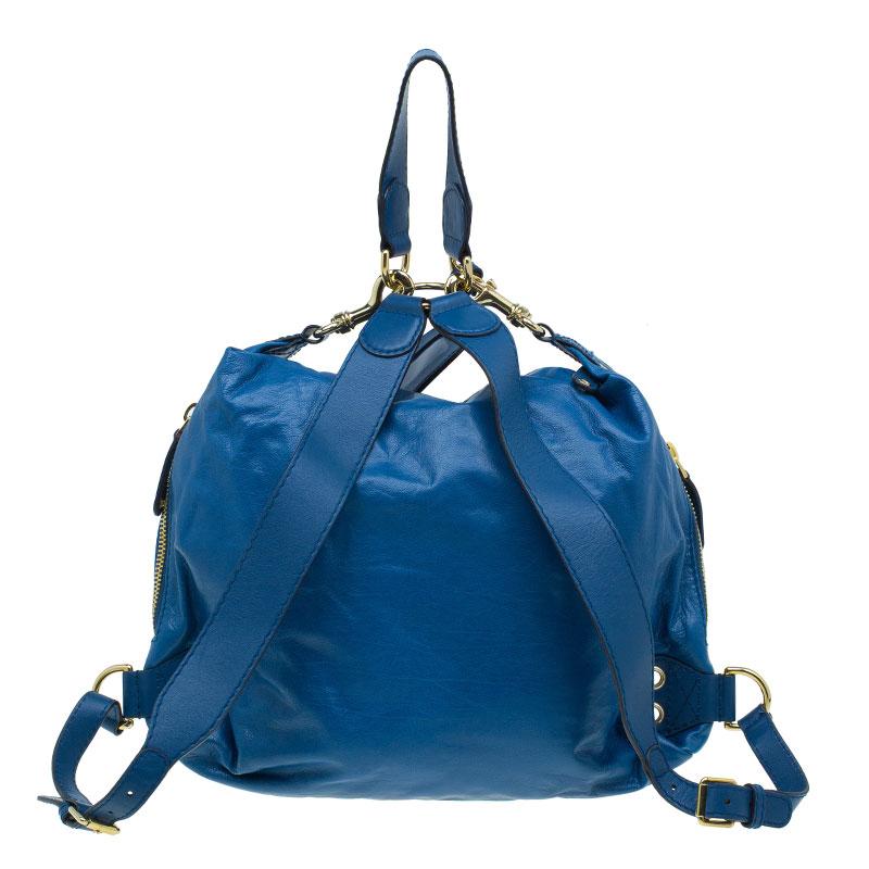 Gucci Blue Leather Medium Darwin Convertible Backpack Bag