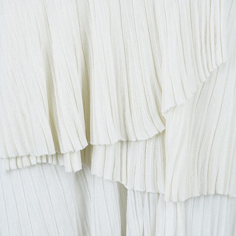 Emporio Armani White Tiered Knit Skirt S