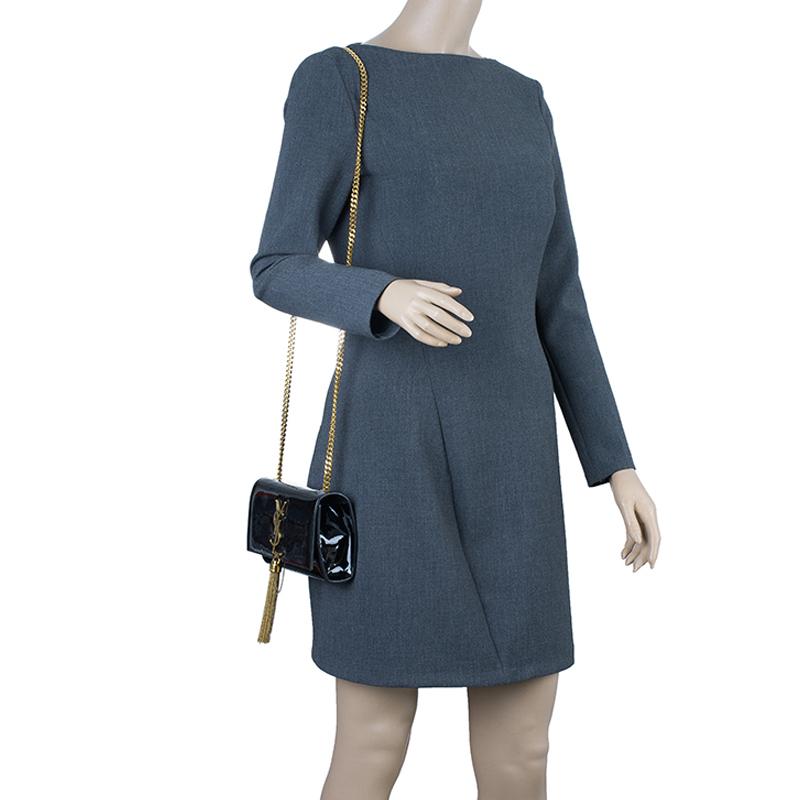 Saint Laurent Paris Black Patent Leather Small Tassel Crossbody Bag