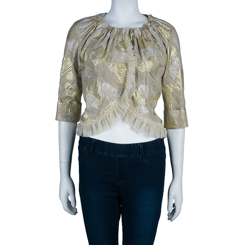 Vera Wang Gold Metallic Cropped Jacket S
