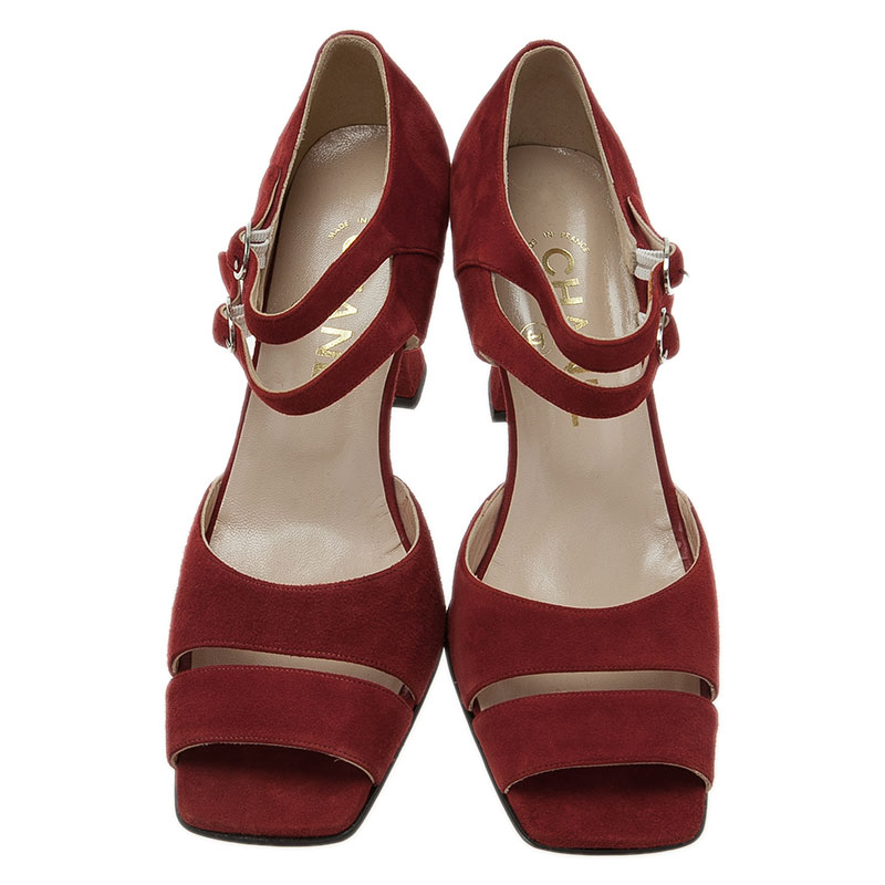 Chanel Red Suede Mary Jane Pumps Size 37.5