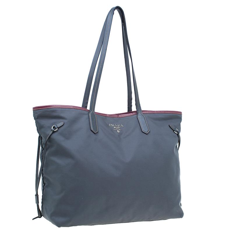 Prada Grey Tessuto Saffiano Tote Bag