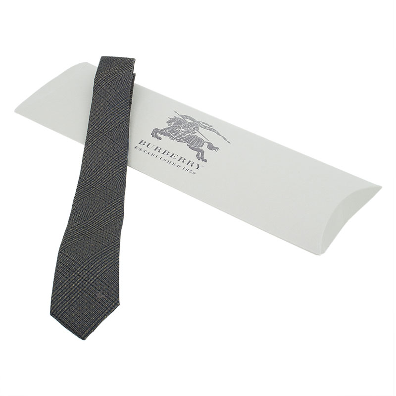 Burberry Green and Grey Check Silk Tie