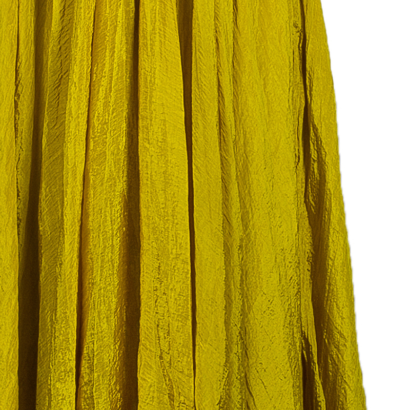 Oscar de la Renta Yellow Crushed Silk Strapless Gown S
