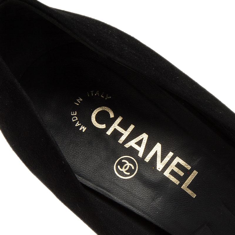 Chanel Black Suede Toe Cap Platform Pumps Size 39