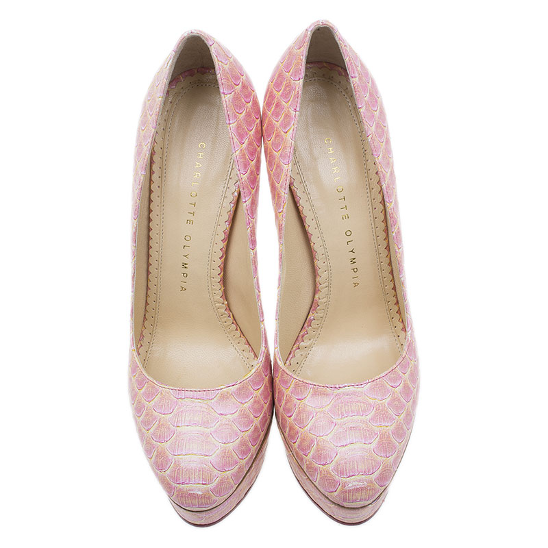 Charlotte Olympia Pink Python Pumps Size 37