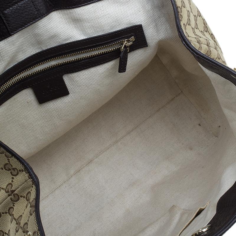 Gucci Beige/Brown Monogram Canvas Dressage Original GG Tote Bag
