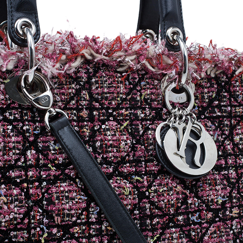Dior Multicolor Cannage Quilted Tweed Large Lady Dior Tote