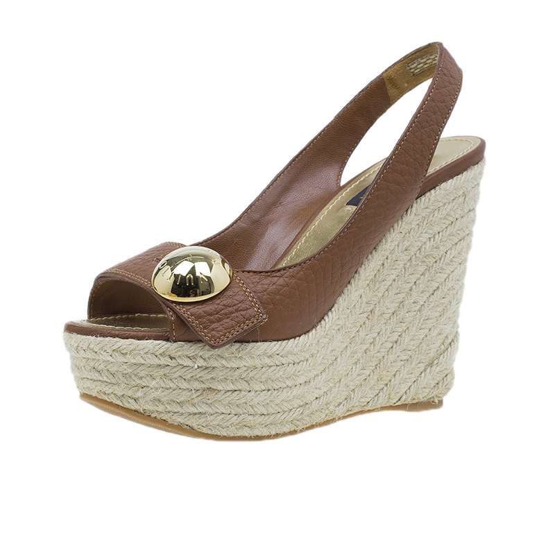 Louis Vuitton Brown Leather Wedges Size 36