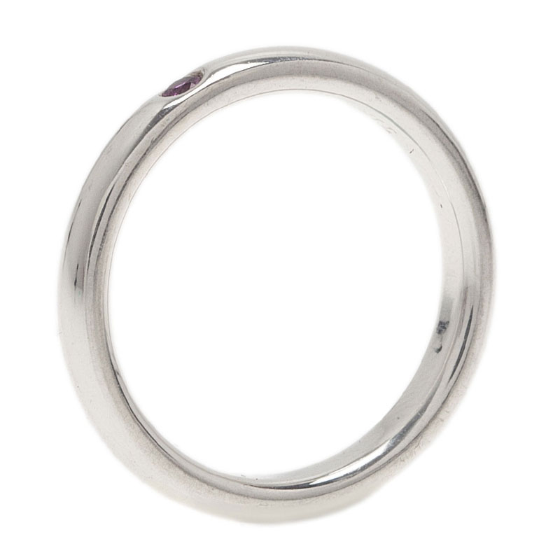 Tiffany & Co. Elsa Peretti Pink Sapphire Silver Band Ring Size 50.5