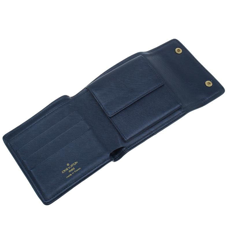 Louis Vuitton Blue Mini Lin Canvas Compact Wallet