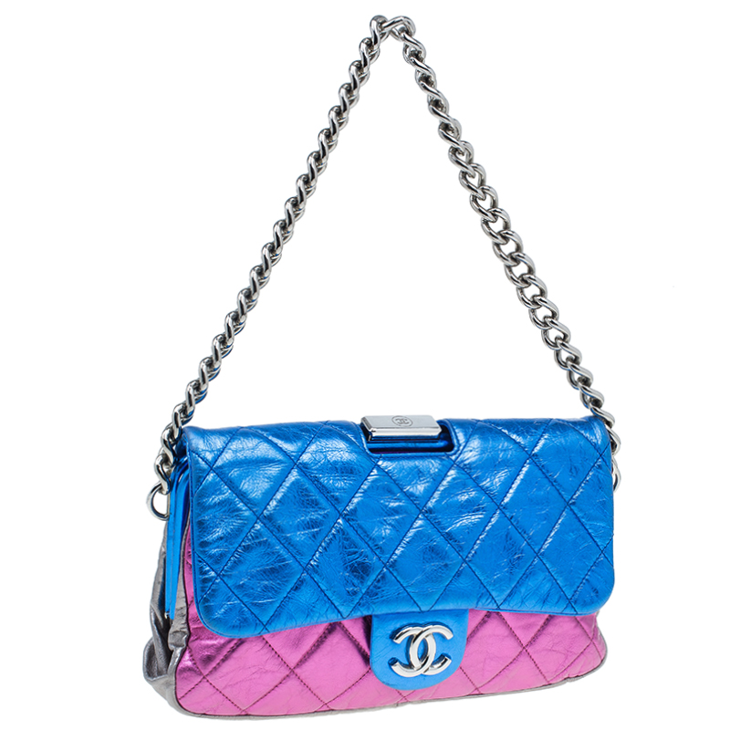 Chanel Metallic Tri Color Quilted Crackled Leather Pouch Flap Bag