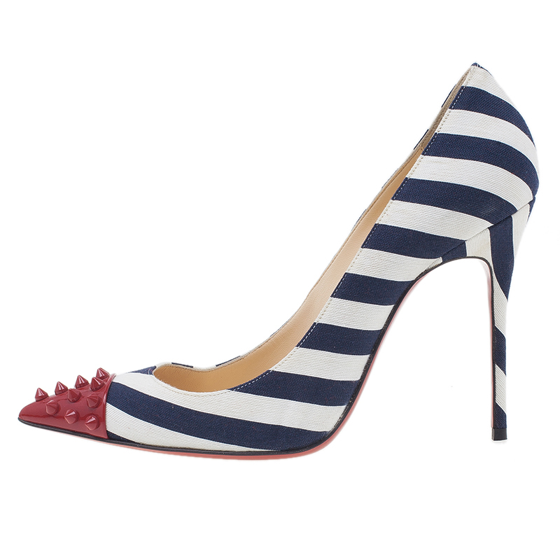 Christian Louboutin Blue Geo Striped Spike Pumps Size 39