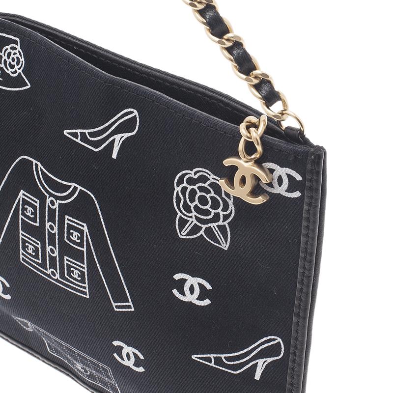 Chanel Black Cotton Vintage Printed Shoulder Clutch