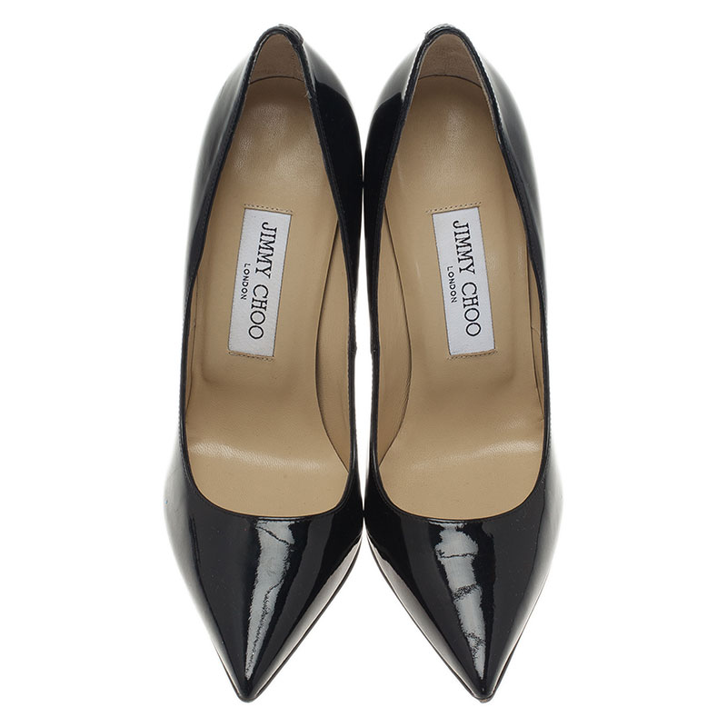 Jimmy Choo Black Patent Anouk Pointed Toe Pumps Size 36.5