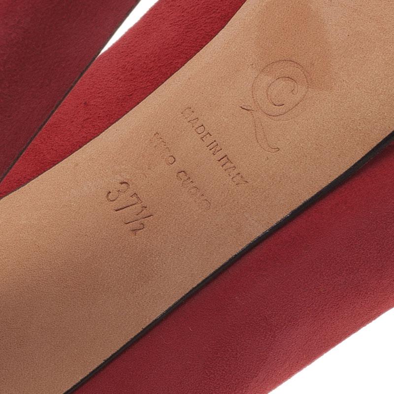 Alexander McQueen Red Suede Skull Embellished Platform Pumps Size 37.5