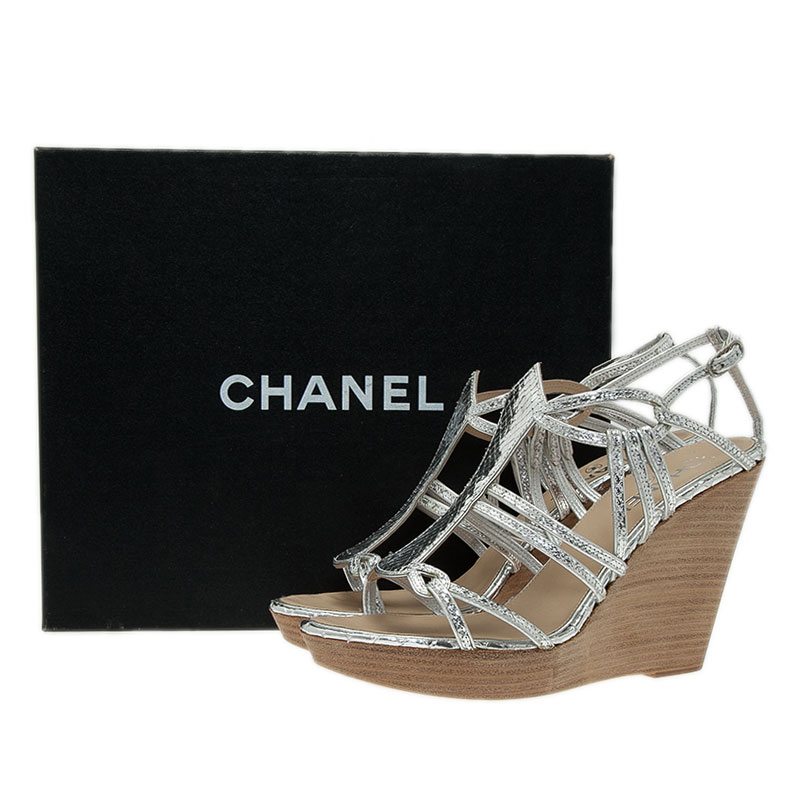 Chanel Silver Metallic Leather Strappy Wedge Sandals Size 39.5