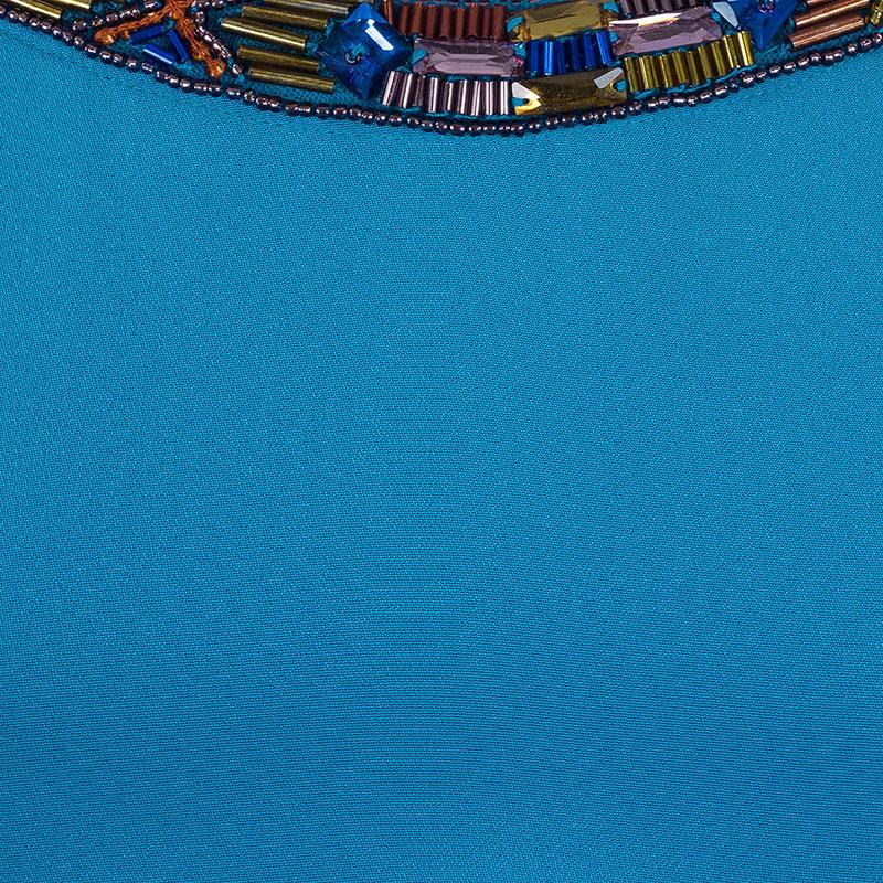 Emilio Pucci Blue Embellished Kaftan Dress OS