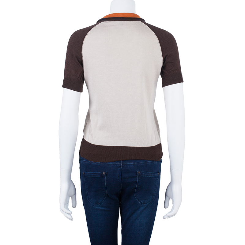 Gucci Beige Cashmere Polo Top S
