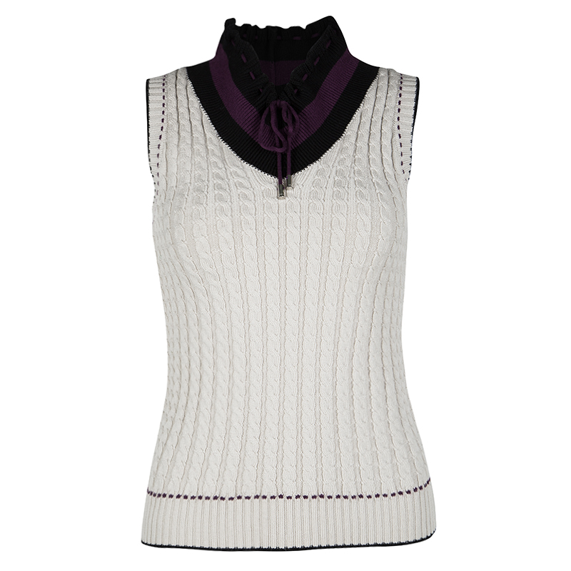 Gucci Beige Contrast Trim Detail Cable Knit Sleeveless Sweater S