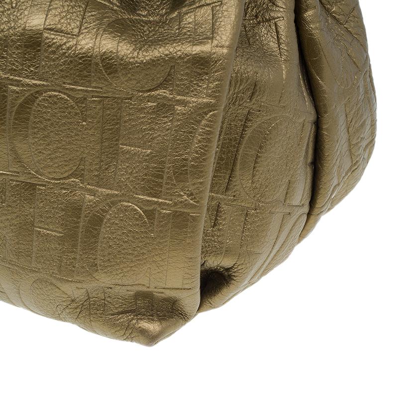 Carolina Herrera Gold Monogram Embossed Bucket Shoulder Bag