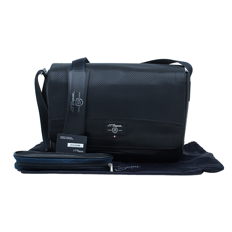 S.T. Dupont Black Leather Carbone Laptop Messenger Bag with Battery Pouch
