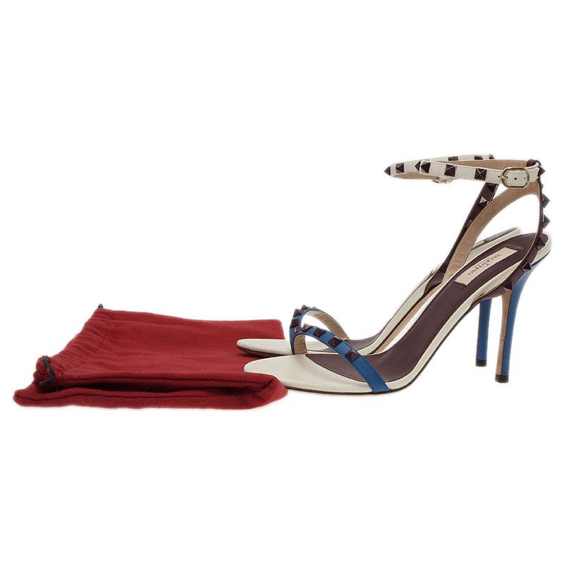 Valentino Tri Color Leather Rockstud Ankle Strap Sandals Size 40.5