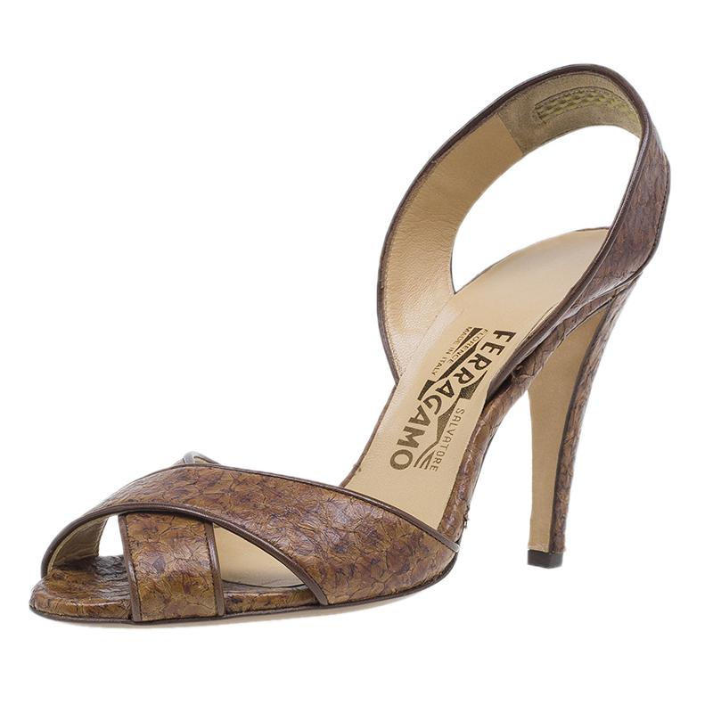 Salvatore Ferragamo Brown Leather Criss Cross Slingback Sandals Size 40