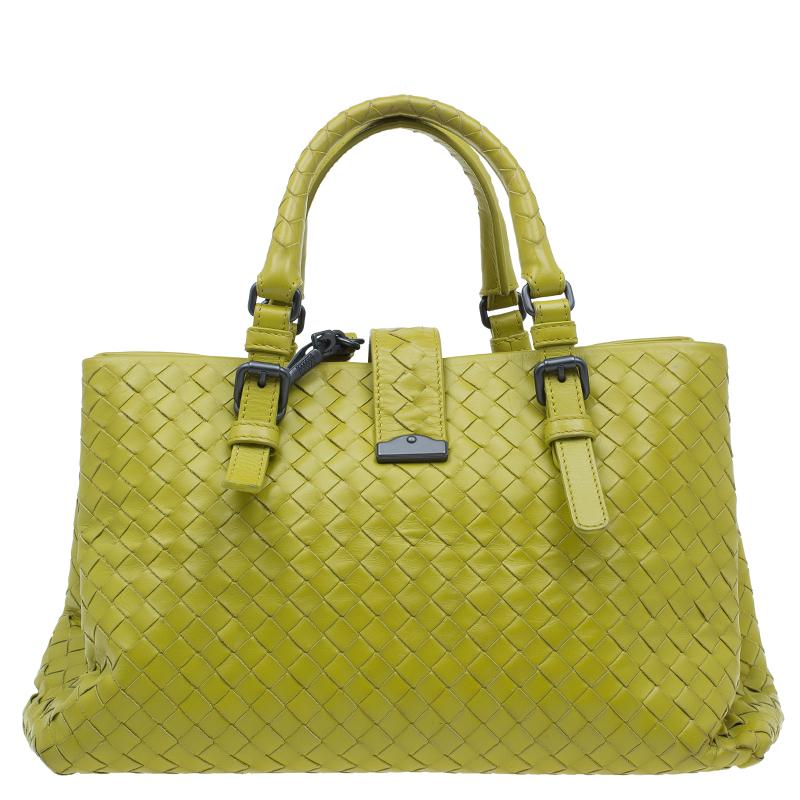 Bottega Veneta Lime Green Intrecciato Woven Leather Small Roma Tote Bag