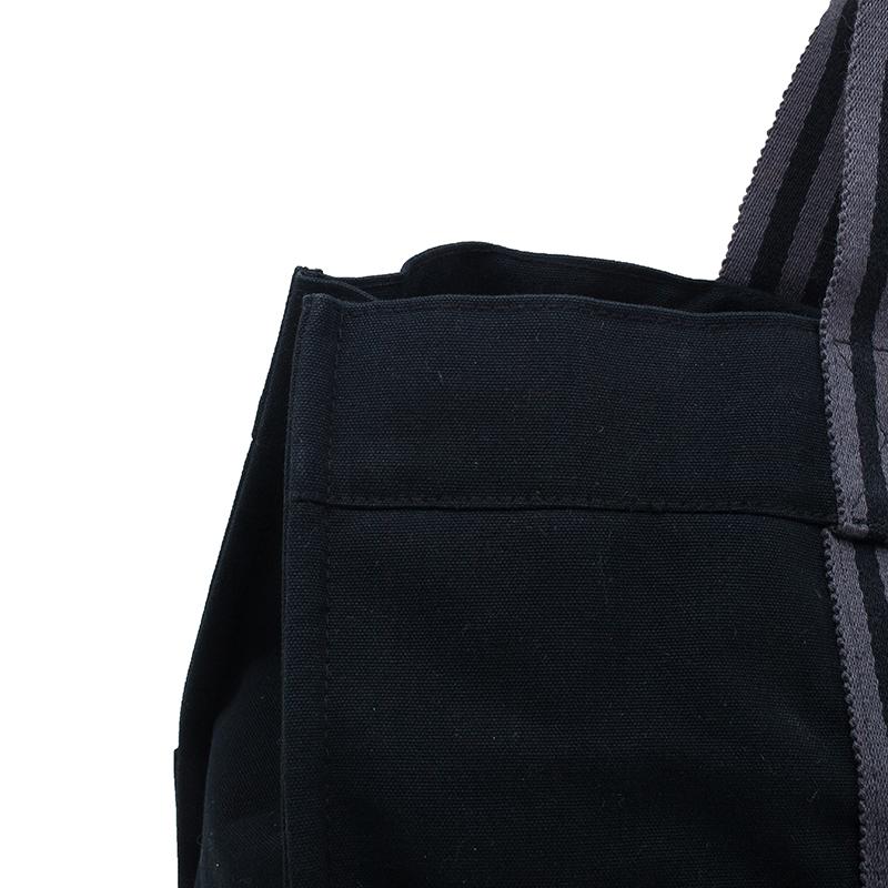 Hermes Black Canvas Fourre-Tout Tote  GM